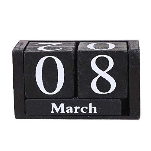 KLOVA Calendario Vintage, Calendario perpetuo de Madera Vintage, Bloques eternos, visualización de Fecha y Mes, Accesorios de Escritorio, Accesorios de fotografía, Color Negro
