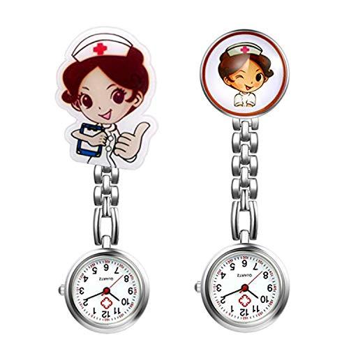 LANCARDO Uhren, Krankenschwester Armbanduhr FOB-Uhr Damen Taschenuhr Analog Quarzuhr aus Legierung LCD037P026 (2pcs)