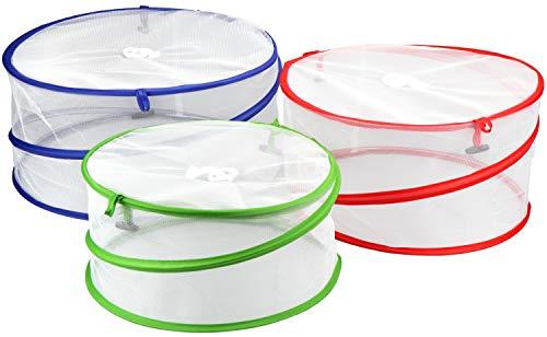 com-four® 3 couvertures pour aliments, écrans pour aliments de différentes couleurs, couvert d'insectes de différentes tailles (03 pièces - mélanger)