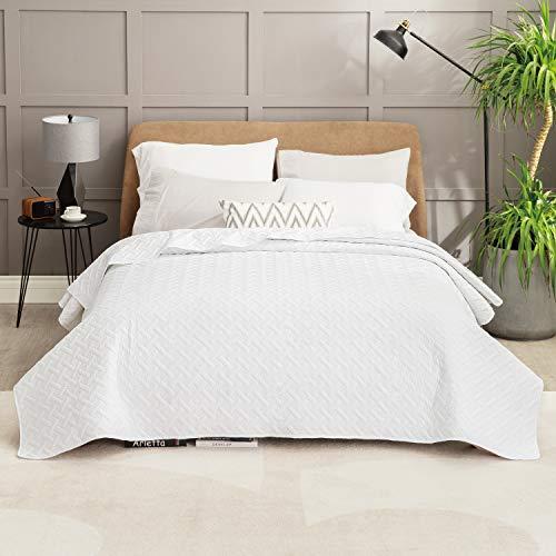Bedsure Colcha Verano Cama 150 Blanco - Colcha Bouti de Primavera y Entretiempo Reverisible, Cubrecama Fina 250x280cm