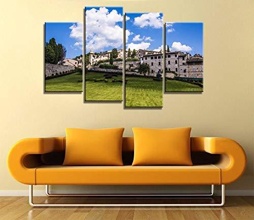 ANTAIBM® 4 Wandkunst-Malplakat Holzrahmen - verschiedene Größen - verschiedene Stile4 Stück Leinwand Stoff Poster drucken Italien schöne Landschaften für Wandkunst Raumdekoration Heimdekoration, Maler