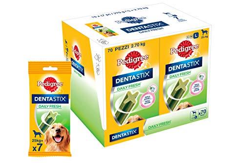 Pedigree Dentastix Fresh Snack per la Igiene Orale (Cane Grande 25 kg+) 270 g 7 Bastoncini - 10 Pacchetti (70 Bastoncini in totale)