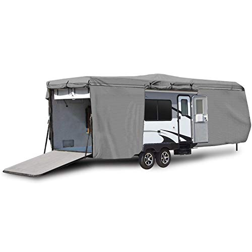 North East Harbor Waterproof Superior RV Motorhome Travel Trailer/Toy Hauler Cover Fits Length 27'-30' Camper Zippered Panels Allow Access To The Door, Engine, Side Storage Areas, and Ramp Door