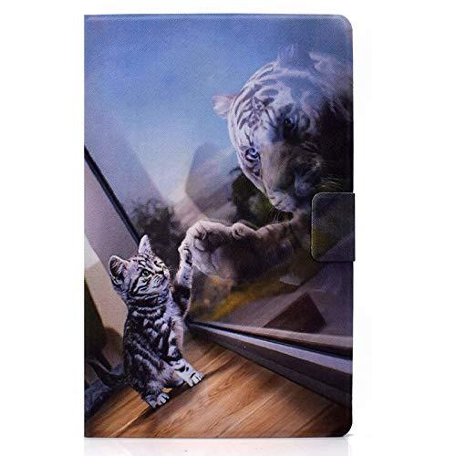 JCTek Funda para Samsung Galaxy Tab A 8.0 2019 modelo T290 T295 T297, piel sintética con tapa y función atril con ranuras para tarjetas (gato y tigre)