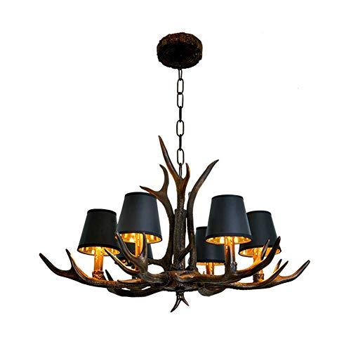 Lustres en bois de cerf,lustres en bois de corne de cerf en résine de style vintage à 6 lumières,lampes suspendues rustiques pour salle à manger,salon,bar,café,E14