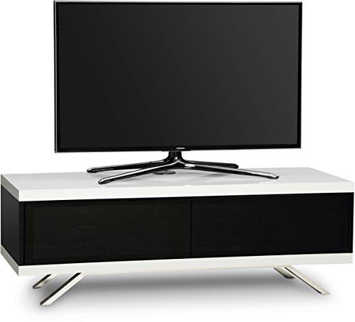 MDA Designs Tucana 1200 Meuble TV doté de la technologie Beamthru Idéal pour des télévisions 66 - 140 cm Noir/blanc brillant