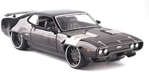 Modelo de Auto Uno y veinticuatro Dom Plymouth GTX Plymouth Metal niño Regalo de simulación de Coches de Juguete de Modelo/niña (Color : Black, Size : 22cm*9cm*6cm)