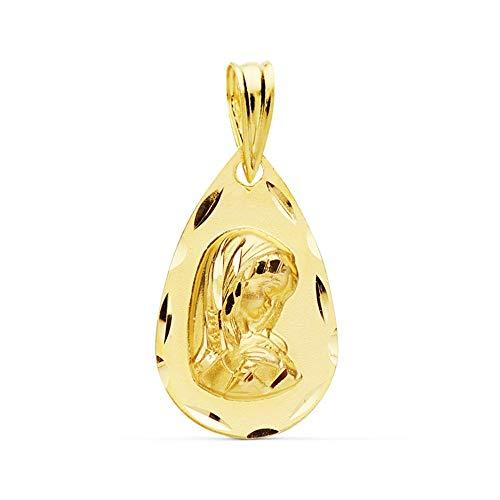Medalla Oro 18K Virgen Niña 19mm. Lágrima Borde Tallado [Ac1030Gr] - Personalizable - Grabación Incluida En El Precio