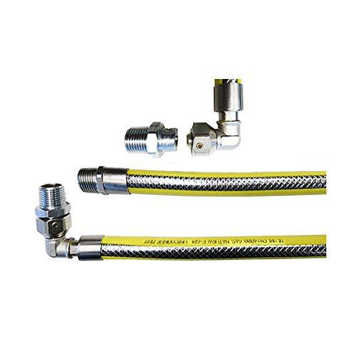 Tubo flessibile gas cucina L 1000 mm 1/2' Mf/Mg curva 90° innesto rapido. CE 14800 unicooker in acciaio INOX con maglia in acciaio e rivestimento giallo