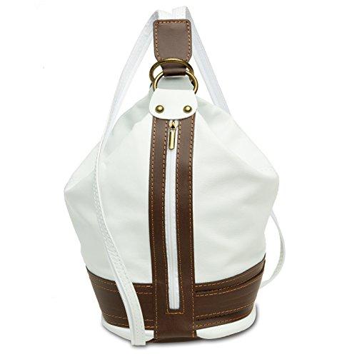 Caspar TL721 2 in 1 Leder Rucksack Handtasche, Farbe:weiss, Größe:One Size