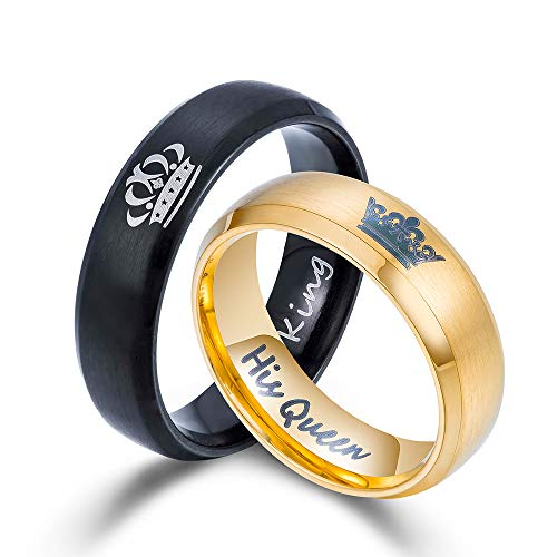 matching rings Kemstone His Queen/Her King Couples Promise Rings Engagement Wedding Bands Size 6-13