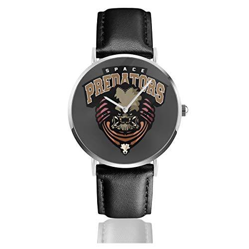 Unisex Business Casual Space Predators Uhren Quarz Leder Uhr mit schwarzem Lederband für Männer Frauen Young Collection Geschenk