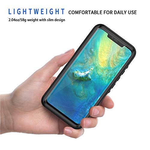 Lanhiem für Huawei Mate 20 Pro Hülle, IP68 Zertifiziert Wasserdicht Handy hülle 360 Grad Schutzhülle, Stoßfest Staubdicht und Schneefest Outdoor Schutz mit Eingebautem Displayschutz - Schwarz - 2
