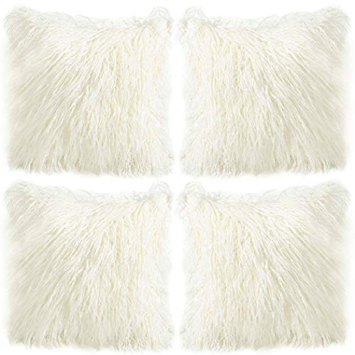 4 Pack Soft Faux Fur Throw Pillow Case,Decorative Square Cushion Case for...