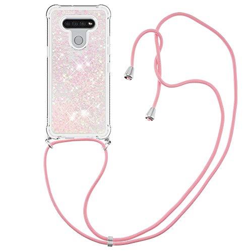 Schutzhülle für LG K51 (pinke Sterne) aus TPU-Gel, stoßfest, mit Umhängeband, glitzernd