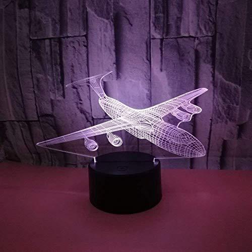 Vliegtuig 3D Nacht Licht Zeven-Kleur Touch Led Creatieve Gift Led Nachtlampje Kinderkamer Licht Kinderlamp