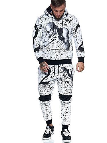 OneRedox | Herren Jogginganzug | 2 Pac | Tupac | Makaveli | Hoodie-Sporthose | Jogging-Anzug | Trainings-Anzug | Jogging-Hose | Modell JG-636 Weiss M
