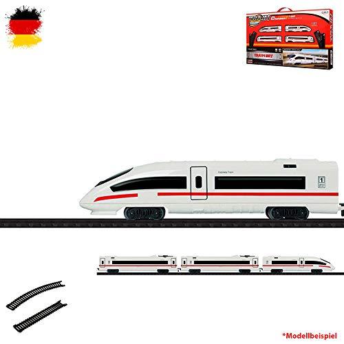 Elektrische Eisenbahn Starter Edition mit Schienen, Schnell-Zug, Lokomotive,Lok, Sound inkl. Waggons und viel Zubehör, Komplett-Set