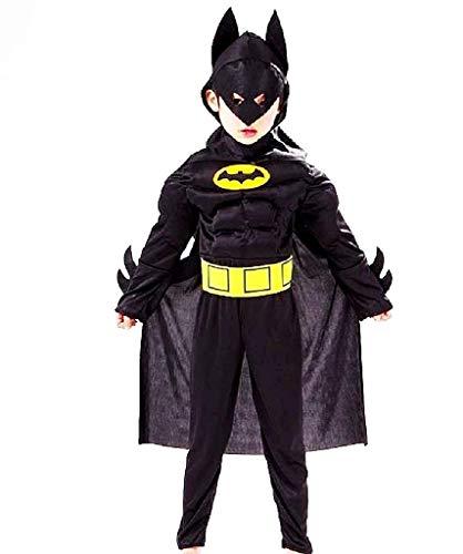 Costume Batman bambino vestito carnevale costumino uomo pipistrello Busto Muscoloso Supereroe e Maschera Taglia L 6 7 anni travestimento Halloween Cosplay ottimo come regalo per natale o compleanno