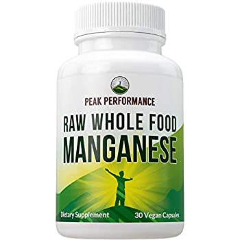 Raw Whole Food Manganese Supplement - Pure Trace Mineral Capsules for Connective Tissue Bone Health and Enzyme Support Superior Absorption 30 Pills