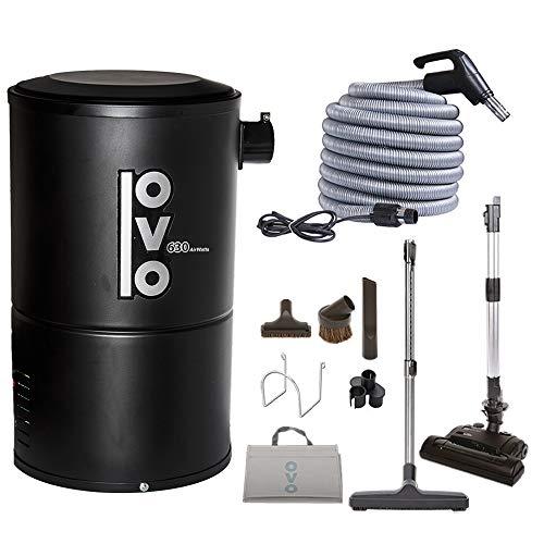 OVO, Sistema de aspiradora Central Compacto y Potente, Vac + Kit 3, Negro, 1