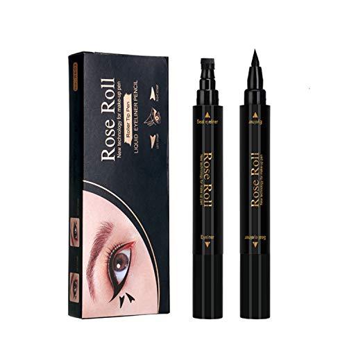 Delineadores de Ojos con sello Liquido, negro Eyeliner Waterproof Stamp, Lapiz de Ojos Impermeable Cosméticos de Maquillaje (2 piezas)