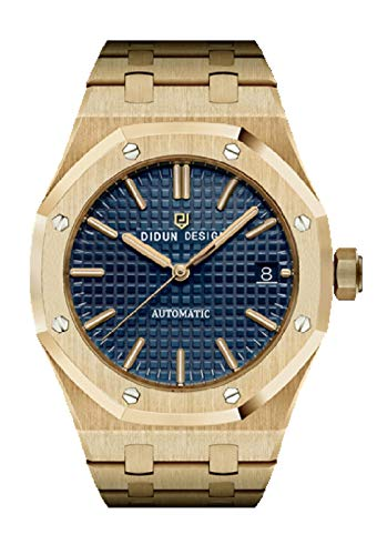 Sportlich Elegante Herren Automatik Uhr, Saphirglas, massives Armband, Miyota Uhrwerk, Didun Royal One gelbgold/blau