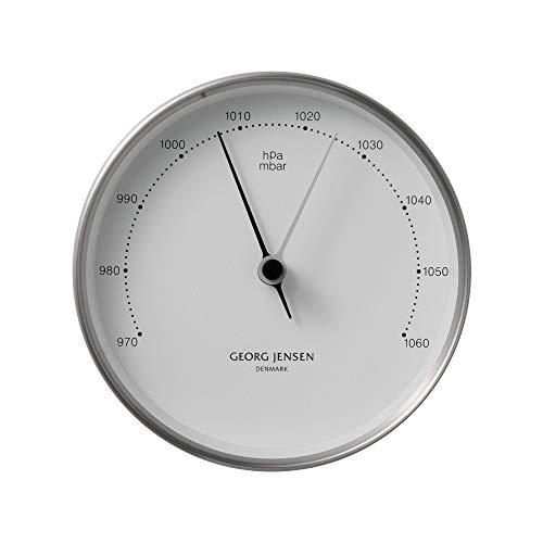Georg Jensen Koppel Barometer 10 cm, Edelstahl mit weißem Ziffernblatt
