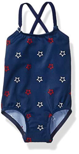 Amazon Essentials Baby Girl's One-Piece Swimsuit, Blue Stars, 18M