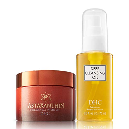DHC Deep Cleansing Oil and Astaxanthin Collagen All-in-One Gel, Facial Cleansing Oil, Brightening Moisturizer, Fragrance and Colorant Free, Ideal for All Skin Types, 2.3 fl. oz. 4.2 oz. Net wt.