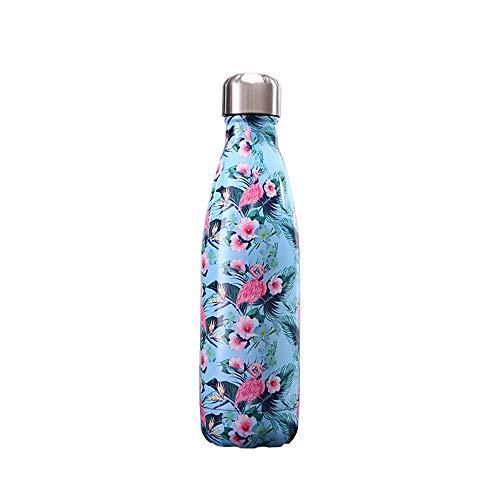 RXDRO Chilly'S Bottles, d'eau à Bouteille en Acier Inoxydable De 500 ML, 12 Heures à Chaud / 24 Heures à Froid, Bouteille éTanche en Forme De Cola avec Une Apparence Florale éLéGante