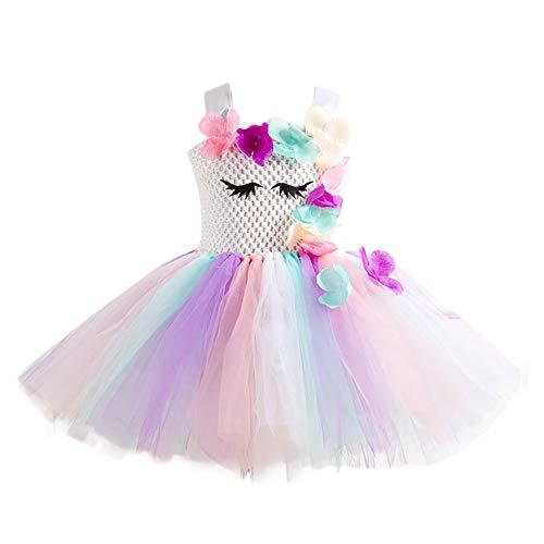 Lumanuby. Princesa Niña Bebé Disfraz de Unicornio Ceremonia Cumpleaños Vestido Infantil Flores Carnaval Niña Cosplay Vestido de Fiesta