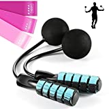 Cordless Jump Rope for MBF Program Weighted Workout, Bod Rope for Fitness with 3 Pcs Resistance Loop Workout Bands, Ropeless Skipping Rope Ball Bearing Cotton Cardio, Endurance Training(Blue)