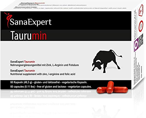 SanaExpert Taurumin, Cápsulas Contra la Disfunción Eréctil, L-Arginina, Zinc, Proteínas, 60 Unidades