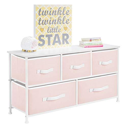 mDesign Extra Wide Dresser Storage Tower - Sturdy Steel Frame, Wood Top, Easy Pull Fabric Bins - Organizer Unit for Child/Kids Bedroom or Nursery - 5 Drawers - Light Pink/White