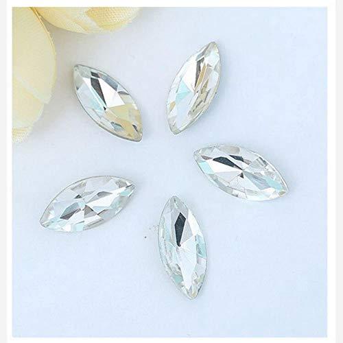 Lot de 50 perles en verre céladon en forme d'œil de cheval à coller sur des strass - Transparent - 5 x 10 mm