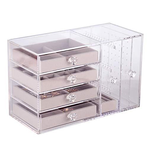 Caja de joyería Joyería Organizador 4 cajones 2 Pendiente de la suspensión de dos-en-uno Anillos Pulseras Collares caja for regalo de las muchachas de las mujeres de acrílico transparente caja de alma