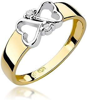 Anillo de compromiso para mujer 585 de oro amarillo de 14 quilates con forma de corazón y diamantes naturales