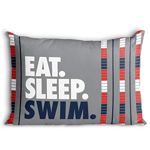 Eat. Sleep. Swim. Pillowcase | Swimming Pillows by ChalkTalk Sports | Gray