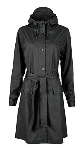 RAINS Lange wasserdichte Jacke für Mädchen Gr. Large, schwarz