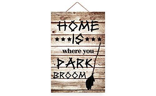 Home is waar je bezem Halloween houten bordjes rustieke voordeur teken muur plaque voor thuis Deocr Yard 8x12