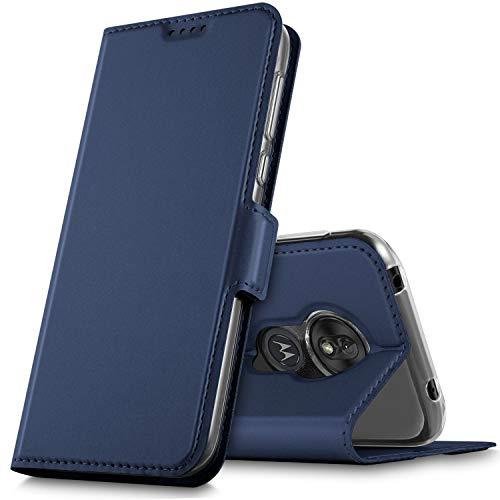 GeeMai voor Moto G7 play Case, Flip Case Pu Cover Kickstand Feature Card Slots Case voor Moto G7 spelen Smartphone.Blue