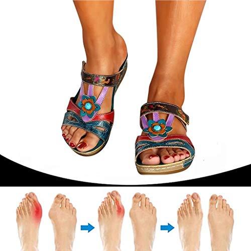 Sandalia cómoda para mujer,Cuero de PU, suela suave de plataforma, Sandalias ortopédicas correctoras de juanetes ortopédicas con clip antideslizante para exteriores,Zapatos de viaje de playa de verano