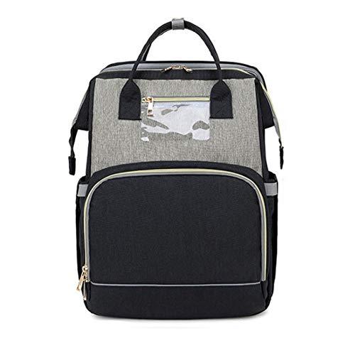 Cuna plegable de viaje 4 en 1, bolsa para la mumia, bolsa para pañales con puerto de carga USB, mochila para niños, bolsa para pañales, ligera, convertible, cuna (0 – 12 meses)