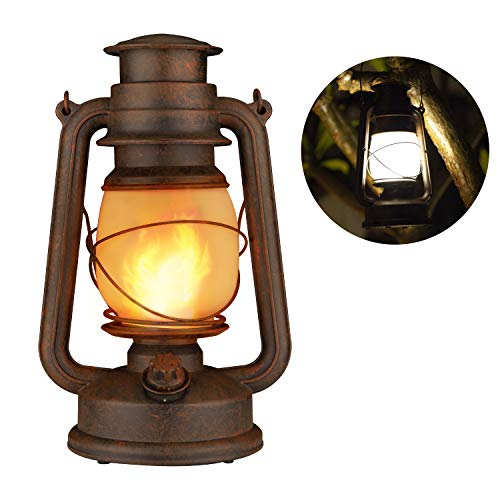 Flame Light Vintage Lantern, Antiqued Copper Flickering 2 Lighting Mode White and Flame Effect, Battery Operated Decorative Hanging/Table Top Hurricane Lanterns for Outdoor Indoor