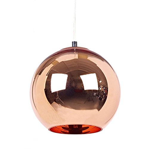 GRY Post Modern Glas Single Headed Sphärische Pendelleuchte, Plated Christmas Ball Dekoriert Pendelleuchte,35 cm,Bronze