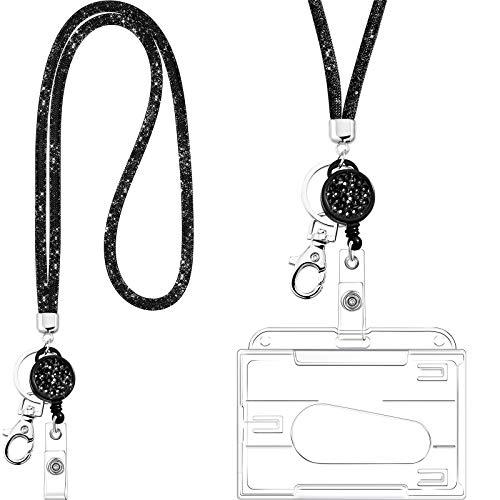 Collar de Cordón de Cristal con Tarjetero Transparente y Llavero, Cordón de Cristal de Diamantes de Imitación Brillante Soportes de Insignias Transparentes y Correa de Cuello (Negro)
