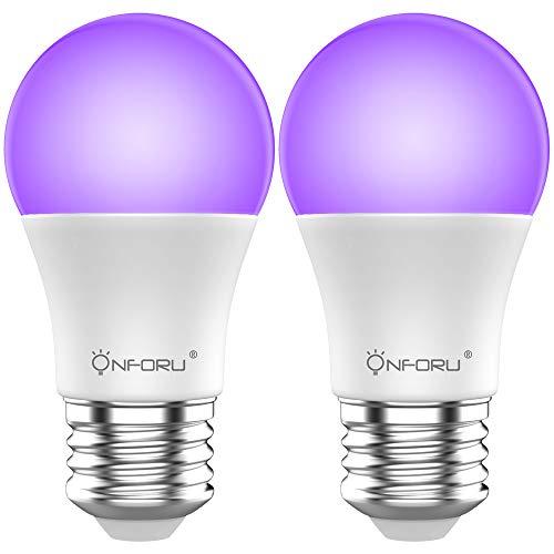 Onforu Lot de 2 Ampoule UV, E27 Lumière Noire, 100-240V Lamp