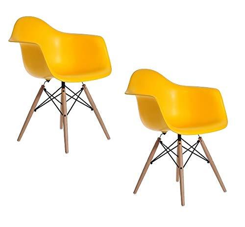 ARYANA HOME - Pack De 2 Sillón Nórdico Premium, sillas de Comedor, sillas Retro Polipropileno, sillas escandinavas Color Amarillo