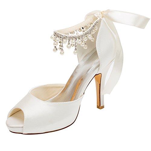 Emily Bridal Brautschuhe Elfenbein Hochzeit Schuhe Satin High Heels Peep Toe Perlen Lace Up Brautschuhe (EU39, Elfenbein)